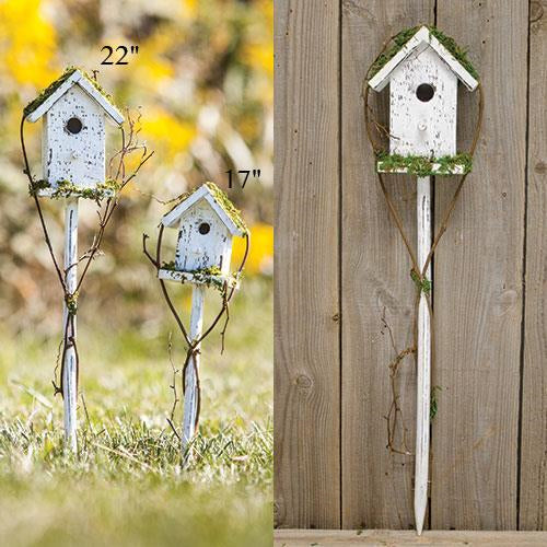 "White Birdhouse Stake, 22""Old Time Shoppe"