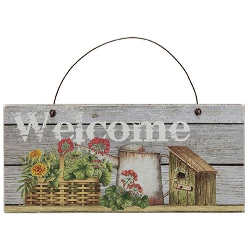Flower Basket, Water Can Welcome Sign - Old-Time-Shoppe