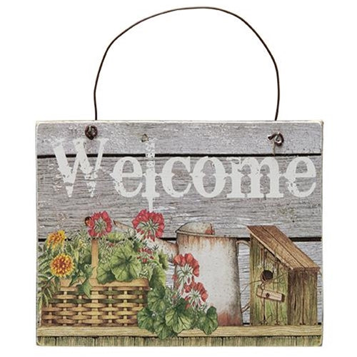 Flower Basket Welcome Sign - Old-Time-Shoppe