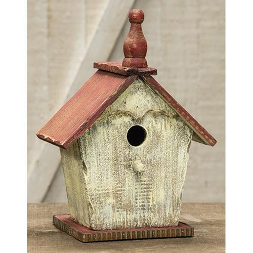 Rustic White Bird House w/Red Roof