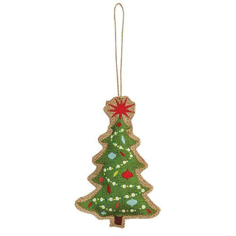 Burlap Christmas Tree Ornament - Old-Time-Shoppe