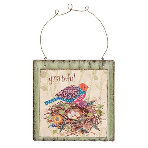 "Grateful Partridge Sign, 4.5"" SqOld Time Shoppe"