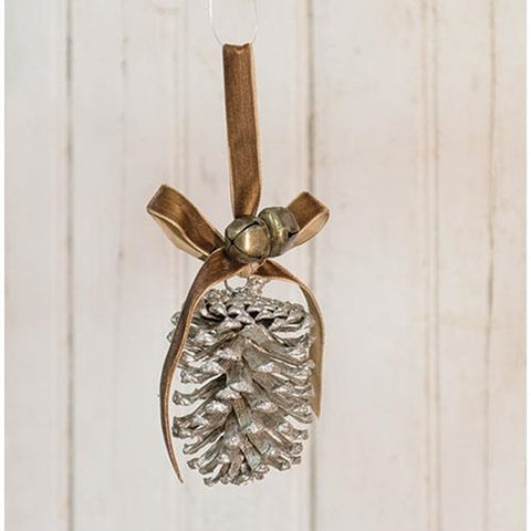 "Champagne Pinecone w/Ribbon Orn, 5"" - Old-Time-Shoppe"