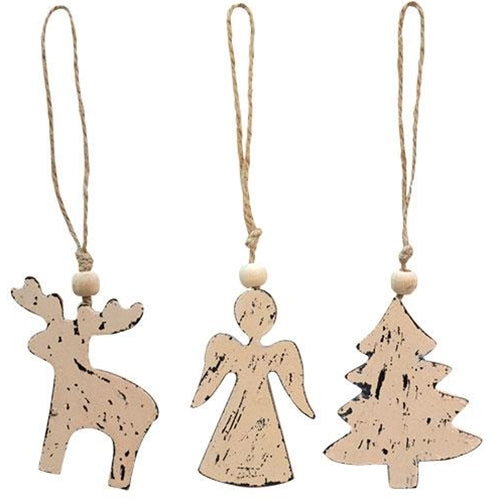 3/Set, Wooden Angel, Tree, Reindeer OrnamentsOld Time Shoppe