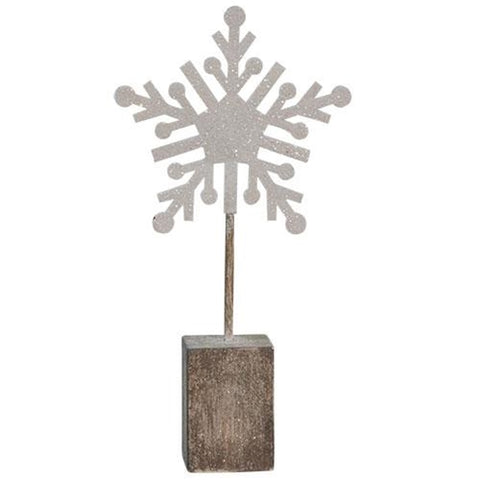 "Snowflake on Block, 6.5""Old Time Shoppe"