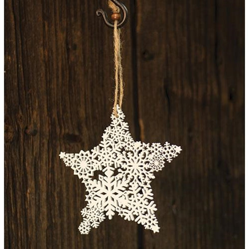 White Star Snowflake Cut-out Ornament, 6