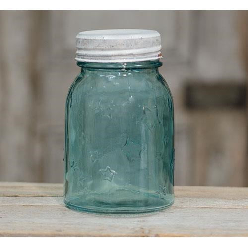 Antique Blue Pint Mason Jar w/Lid - Old-Time-Shoppe