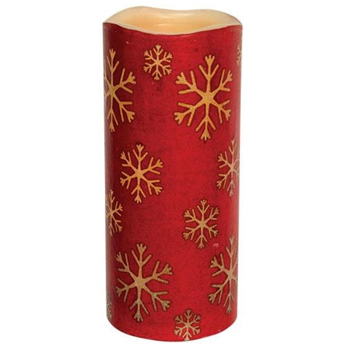 Red Snowflake Print LED Pillar