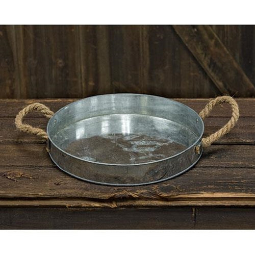 Galvanized Tray w/ Rope HandlesOld Time Shoppe