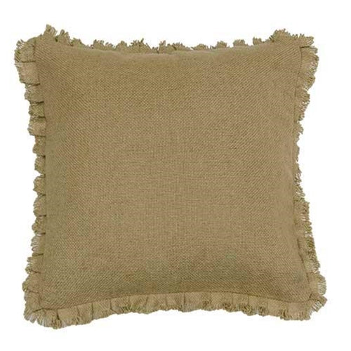 "Burlap Natural Fringed Pillow, 16"" SqOld Time Shoppe"