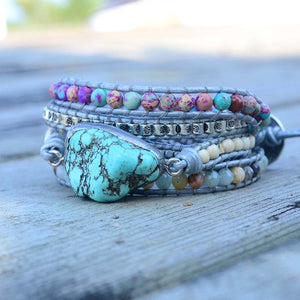 Wrap Bracelet Natural Stone 5 Strand Leather
