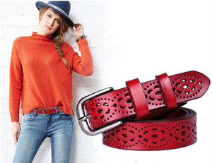 Wide Leather Belt Cut Out Print Perforated
