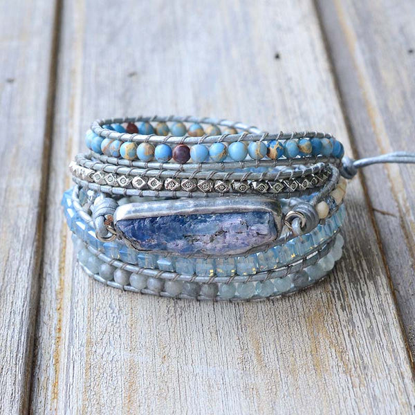 Leather Natural Stone 5 Strand Wrap Bracelet  Boho