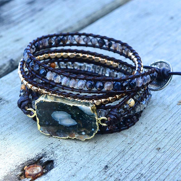 Natural Stone Wrap Leather Bracelet