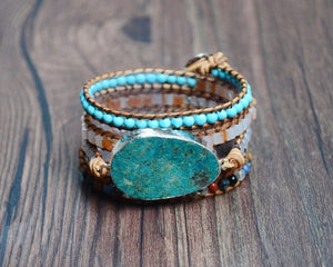 Natural Earth Stone 5 Strand Wrap Bracelet