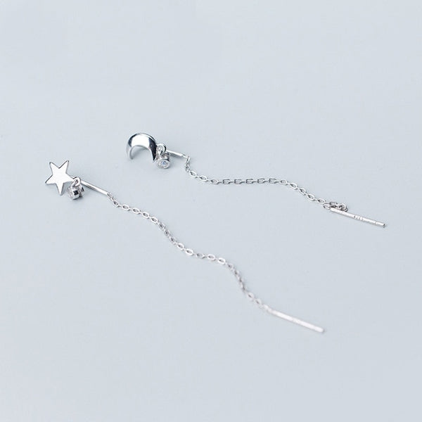 925 Sterling Silver Moon & Star Long Chain Earrings