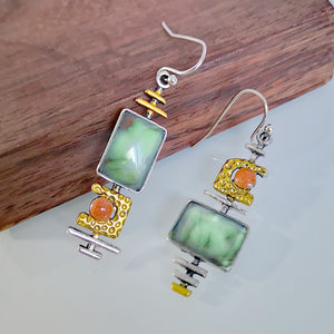 Green Funky Geometric Earrings