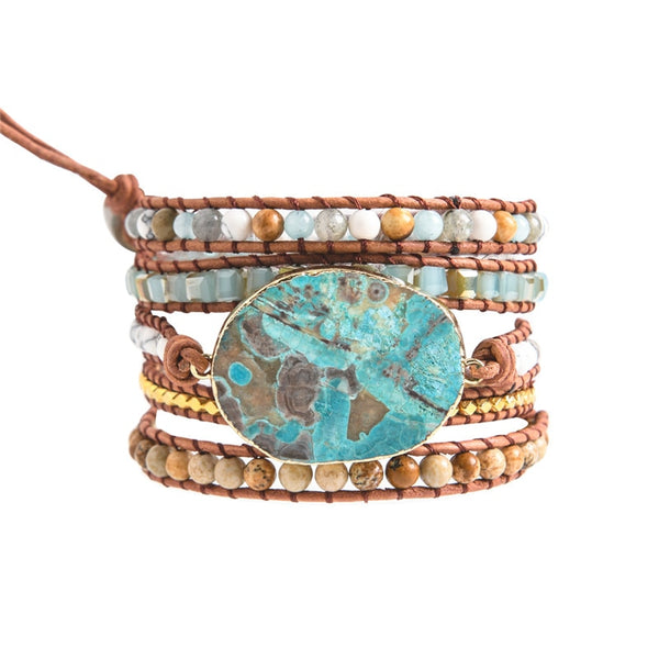 Ocean Stone Leather Wrap Bracelet