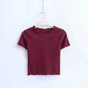 Soft and Stretchy Short Sleeve T-shirt Basic Cropped Top