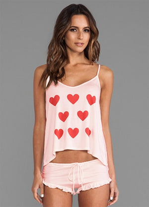 Pajama Set Cute Sleepwear Kiss Hearts