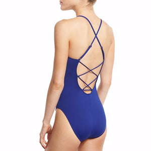 One Piece Swimsuit Criss Cross Front Retro Style