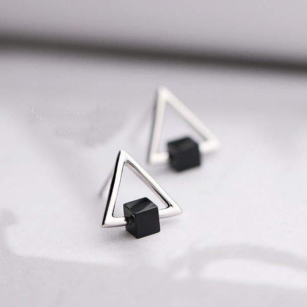 925 Sterling Silver Earrings Black Square Triangle