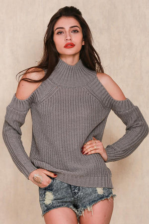 Turtleneck Off Shoulder Ribbed Knitted Sweater