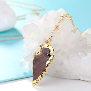 Arrow Head Stone Druzy Pendant Necklace