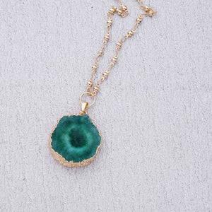 Long Round Stone Pendant Necklace