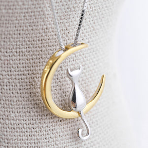 Cat Moon Pendant Necklace Charm Silver Gold Color Link Chain