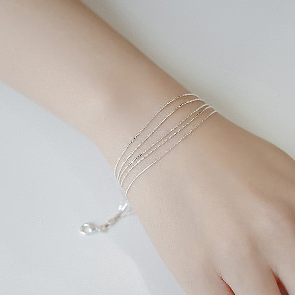 925 Sterling Silver Bracelet Multi Layer Chain Bracelet