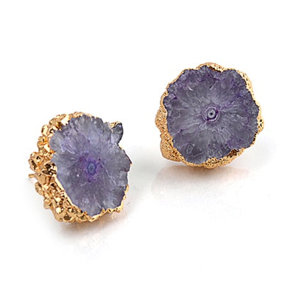 Natural Stone Druzy Earrings