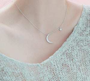 925 Sterling Silver Moon Star Pendant Chain Choker Necklace