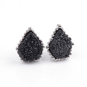 Stud Earrings Quartz Natural Druzy Stone