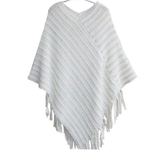 Shawl Scarf Sweater Striped Tassel Poncho