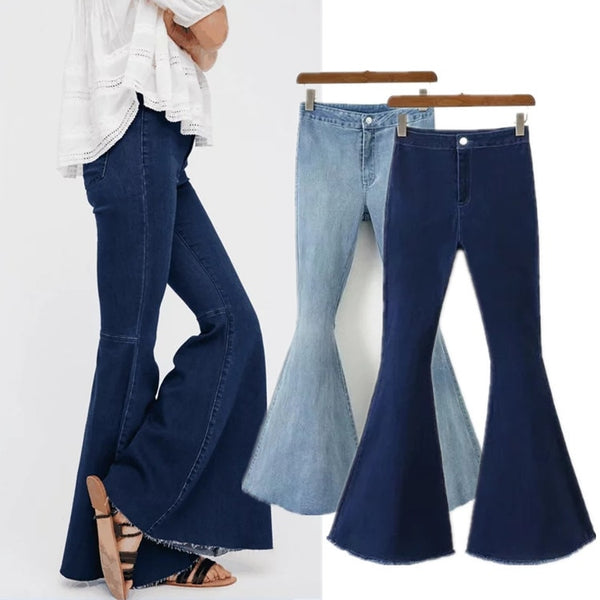 Bell-Bottoms Hippy Stretchy Jeans High Waist