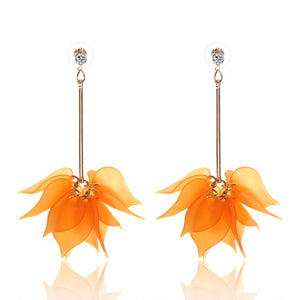 Flower Drop Long Dangle Earrings