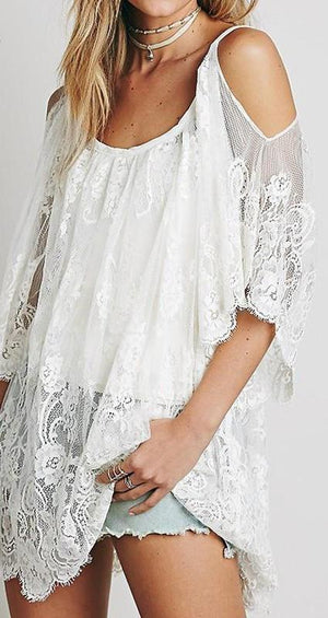 Lace Sheer Open Shoulder Loose Boho