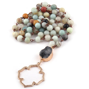Natural Druzy Amazonite Flower of Life Pendant Necklace