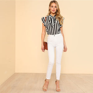 Black and White Striped Ruffle Tie Neck Blouse