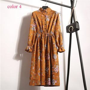 Vintage Style Fall Corduroy High Elastic Waist Dress Print
