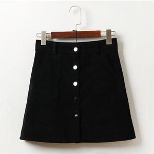 Button Front Corduroy High Waist Pocket Mini Skirt