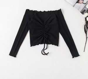 Long Sleeve Off Shoulder Drawstring Tie T-shirt Crop Top