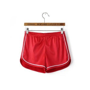 Satin Gym Shorts Elastic Waist Fitness