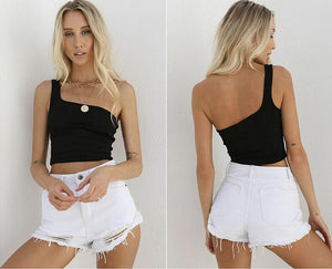 One Shoulder Strapless Tank Crop Top