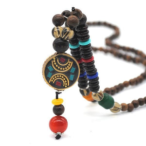 Mala Wood Beads Pendant & Necklace Handmade