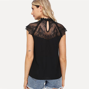 Black Lace Cap Sleeve Sheer Blouse