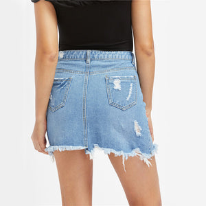 High Waist Distressed Denim Skirt