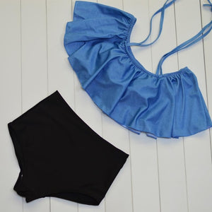 High Waist Swimsuit Halter Sexy Bikini Set Retro Bathing Suit