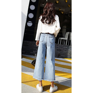 High Waist Wide Leg Jeans Pants Ankle length Frayed Hem